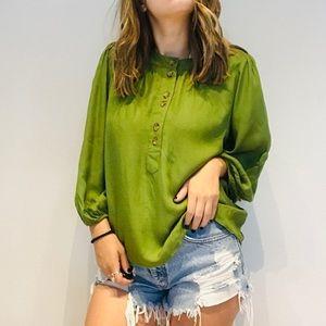 Anthro Maeve green half button blouse